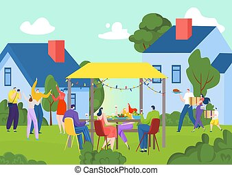 Summer grill party in garden nature, vector illustration. Happy people drink, eat barbecue food meat outdoors. Young man woman have fun