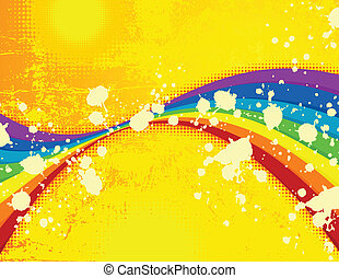 Summer grunge background with rainbow.