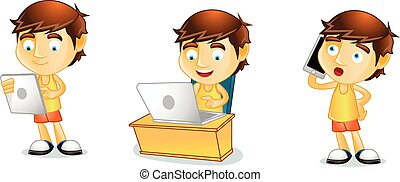 Summer guy with laptop mascot