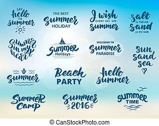 Summer hand drawn brush letterings