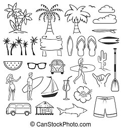 Summer hand drawn symbols and objects. Set of summer time beach elements