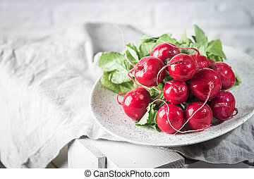 Summer harvested red radish.
