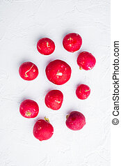 Summer harvested red radish. Growing organic vegetables, on white background, top view flat lay