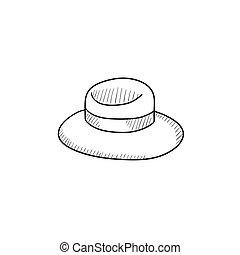 Summer hat sketch icon.