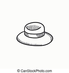 Summer hat sketch icon. - Summer hat vector sketch icon...