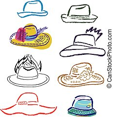 Summer hats, caps outlined template set