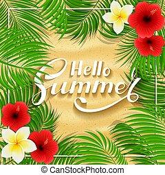 Summer Hawaiian flowers on sandy background
