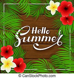 Summer Hawaiian flowers on wooden background