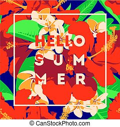 Summer Hawaiian tropical poster with, palm leaves and flowers.