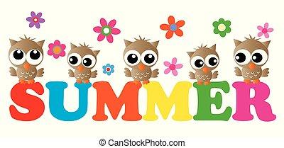 summer header adorable owls