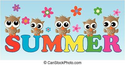 summer header with cute little owls