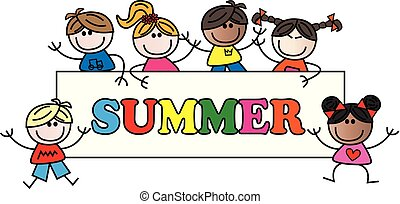 summer header with different mixed children