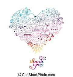 Summer heart design made of doodle season icons. Doodle travel vacation icons arranged in heart shape