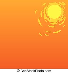 Summer heat on orange background