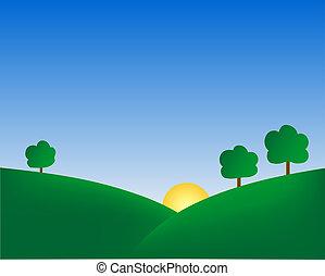 Cartoonish trees on hills. Digital illustration from scratch.