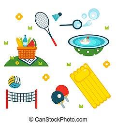 Summer holiday activity symbols