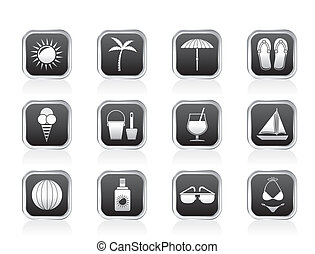 Summer, Holiday and beach objects - Vector Illustration