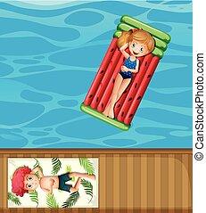Summer holiday at the pool