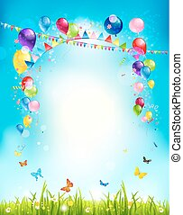 Summer holiday background with balloons and flags for...