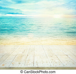 Summer holiday background. Summer ocean with sand. Beach ...