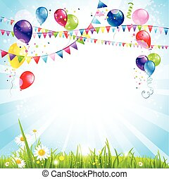 Summer holiday background with balloons