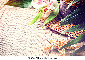 Summer holiday background with straw hat