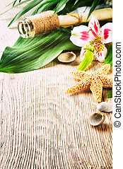 Summer holiday background with tropical flowers