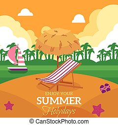 Summer holiday banner with beach and lounge chair