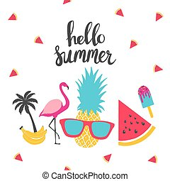 Summer holiday cards. Hand drawn beautiful posters.