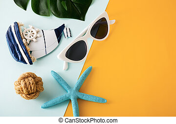 Summer holiday concept on yellow and blue background