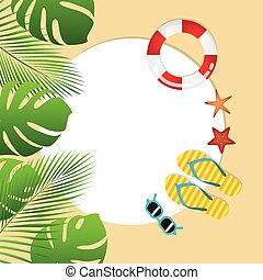 summer holiday design with palm sunglasses flip flops and starfish
