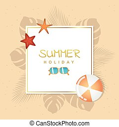 summer holiday design with sunglasses ball and starfish