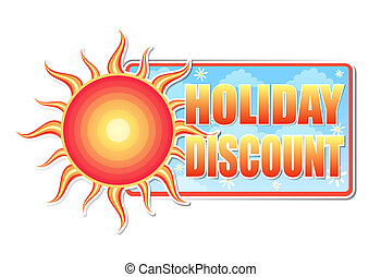 summer holiday discount in label with sun