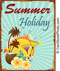 Summer Holiday - illustration of summer holiday poster with...