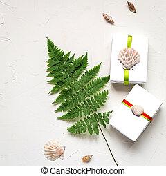 Summer holiday flat lay with fern, seashells