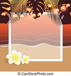 summer holiday frame on the palm beach with frangipani tropical flower