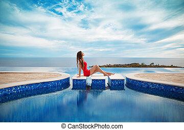 Summer holiday girl fashion concept. Luxury resort woman ...