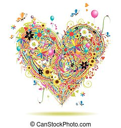 Summer holiday, heart shape with design elements