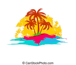 summer holiday logo with sea and palms