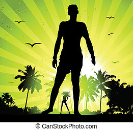 Summer holiday, man and beautiful girl silhouette on sunset