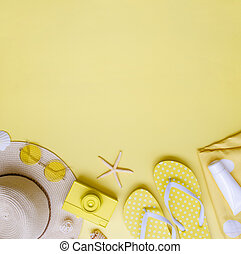 Summer holiday mockup. Vacation feminine beach accessories on a yellow background. Top view with copy space
