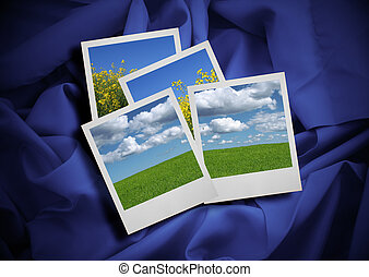 summer holiday photos on purple satin background, Photos inside are my property