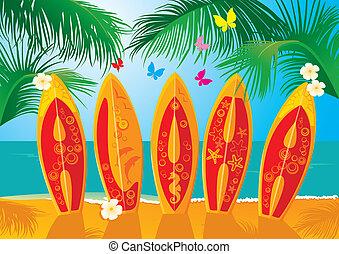 Summer Holiday Postcard- surf - Summer Holiday Postcard -...