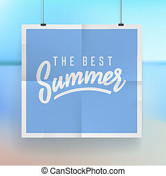 Summer holiday poster design on tropical beach background. ...