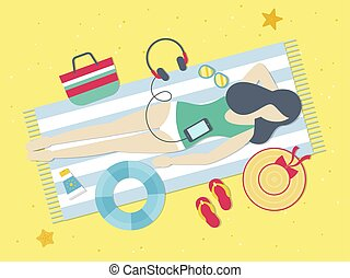 Summer Holiday, Resting on the beach vector
