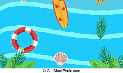 summer holiday season with surfboard and lifeguard float in sea water ,4k video animation