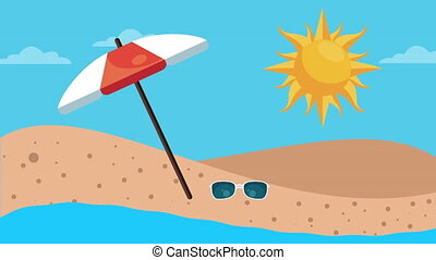 summer holiday season with umbrella and sunglasses on the beach