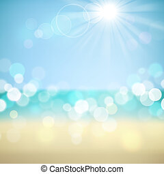 Summer tropical beach bokeh background. Vector eps10.