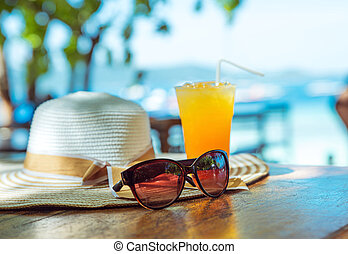 Summer, holiday, vacation accessories - tropical area
