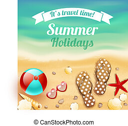 Summer holiday vacation travel background poster with beach...